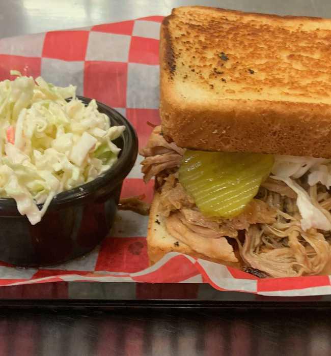 Large Pork Sandwich with slaw - Pig Pen Barbeque