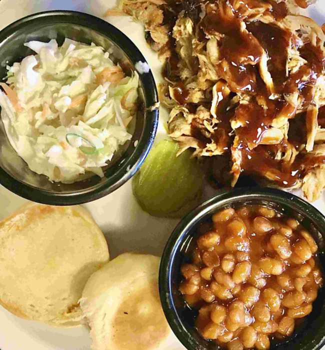 BBQ Pork Plate with slaw and baked beans - Pig Pen Barbeque